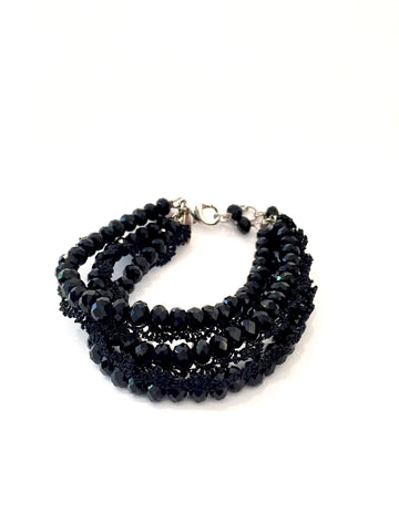 Crochet Black Crystals Bracelet