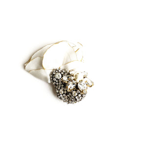 Diamante and Ivory Silk Brooch