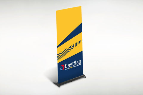 yellow and blue retractable banner