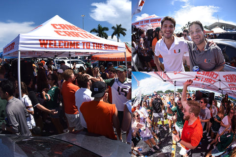 Branded Tent at University of Miami Tailgate Event