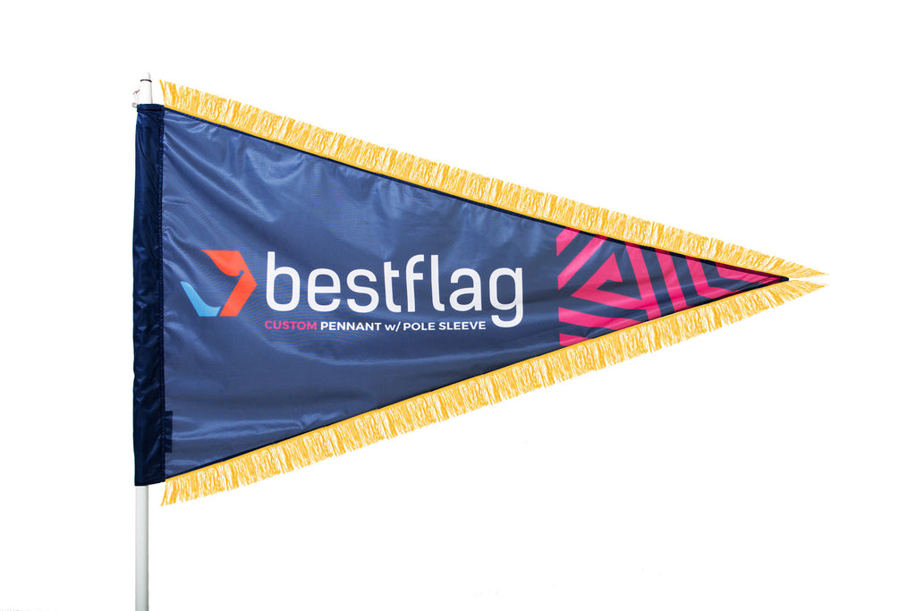 Custom Pennant Flag with Pole Sleeve and Gold Fringe - BestFlag.com
