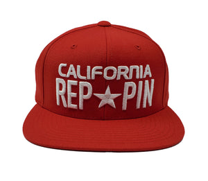 California Reppin Red and White Snapback