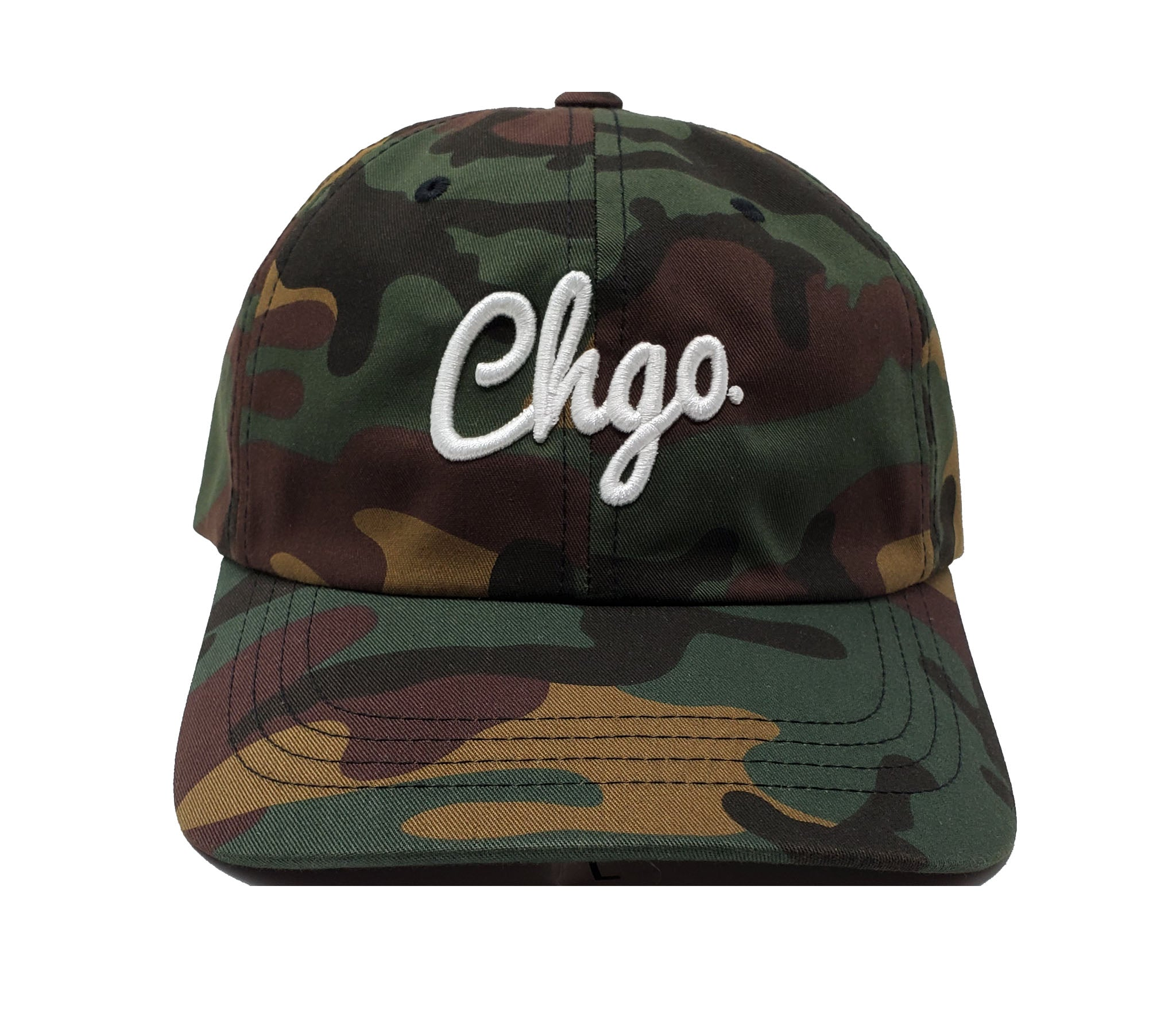 CHGO Camouflage and White Dad Cap