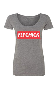 Fly Chick Classic Logo Scoop Neck T-Shirt