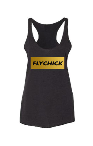 Fly Chick Classic Gold Foil Racerback Tank