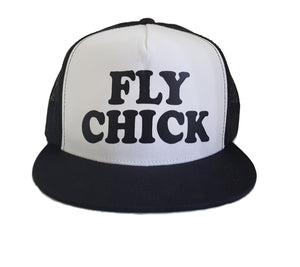 Fly Chick Classic Black and White Trucker Hat