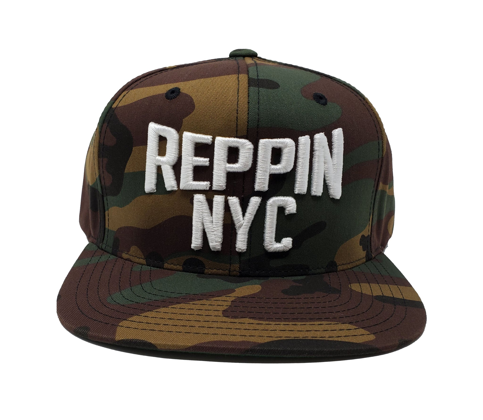 Reppin NYC Camouflage and White Snapback