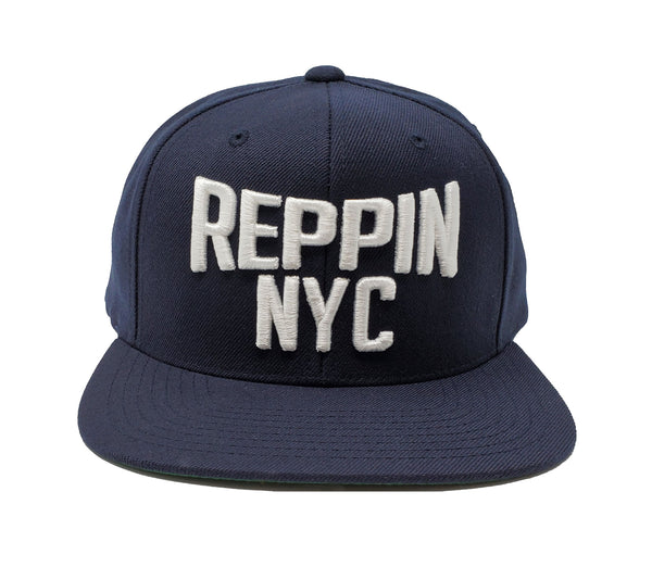 Reppin NYC Navy and White Snapback