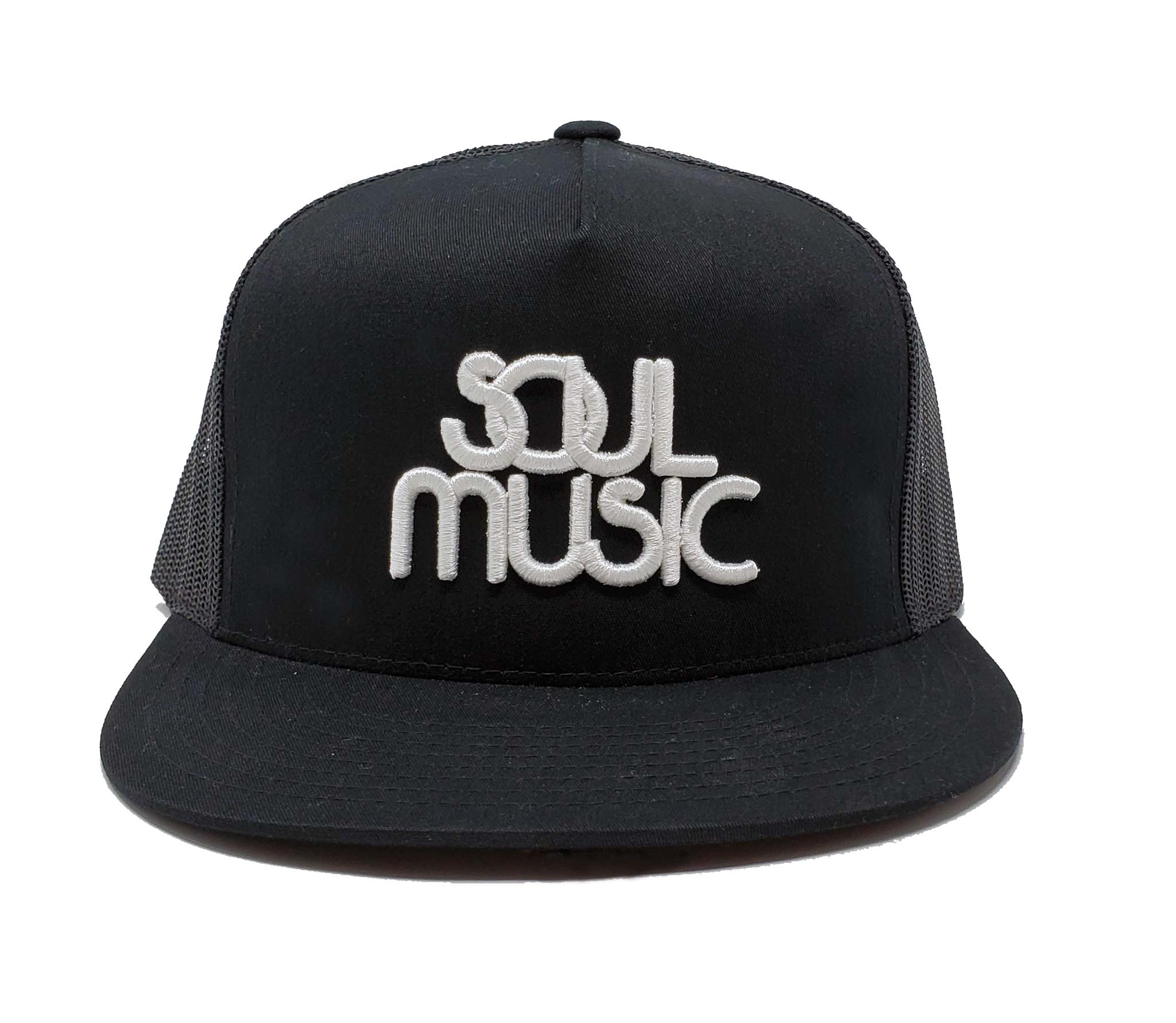Soul Music Black and White Mesh Trucker Cap