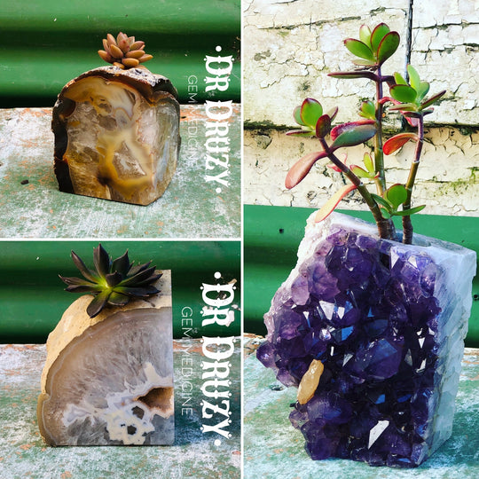 One-of-a-kind Gemstone Planters