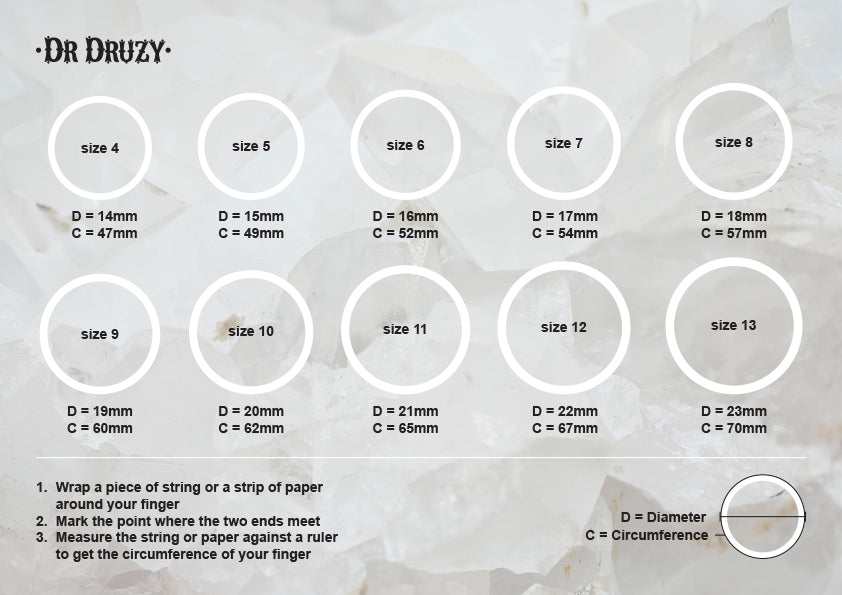 dr druzy ring sizing chart
