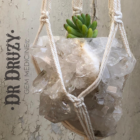 Quartz planter macrame