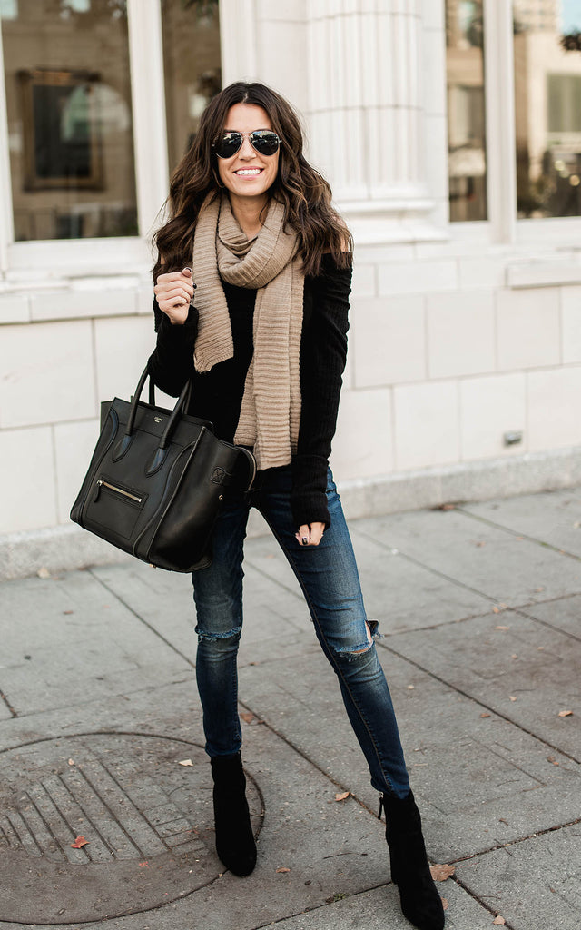 Beige Wide Ribbed Scarf