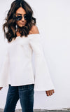 White Bell Sleeve Off the Shoulder Top