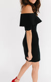 Black Off the Shoulder Flounce Dress