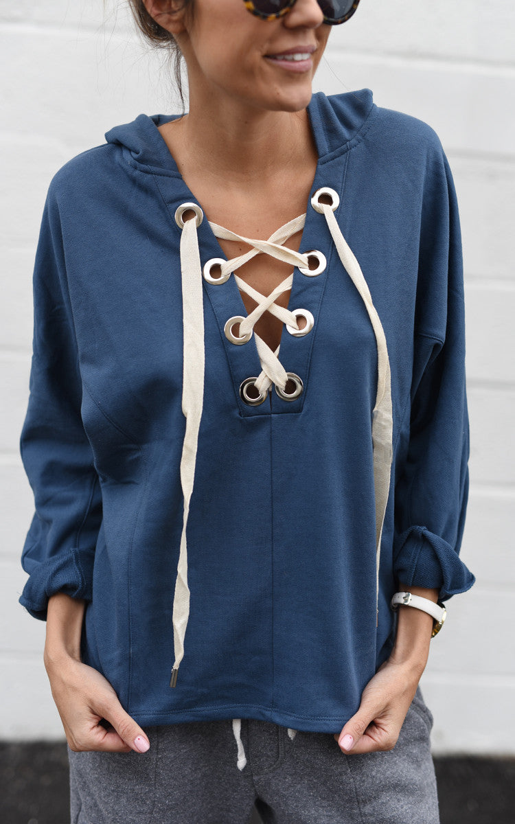 Blue Lace Up Hoodie