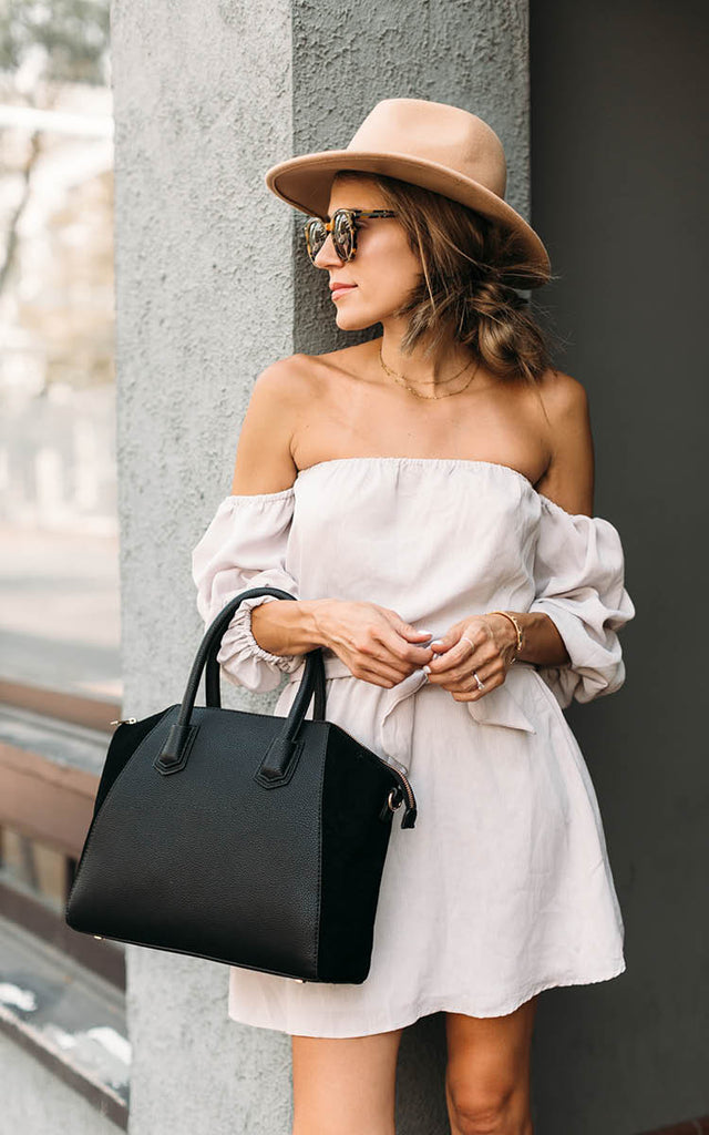 Off the Shoulder Belted Dress