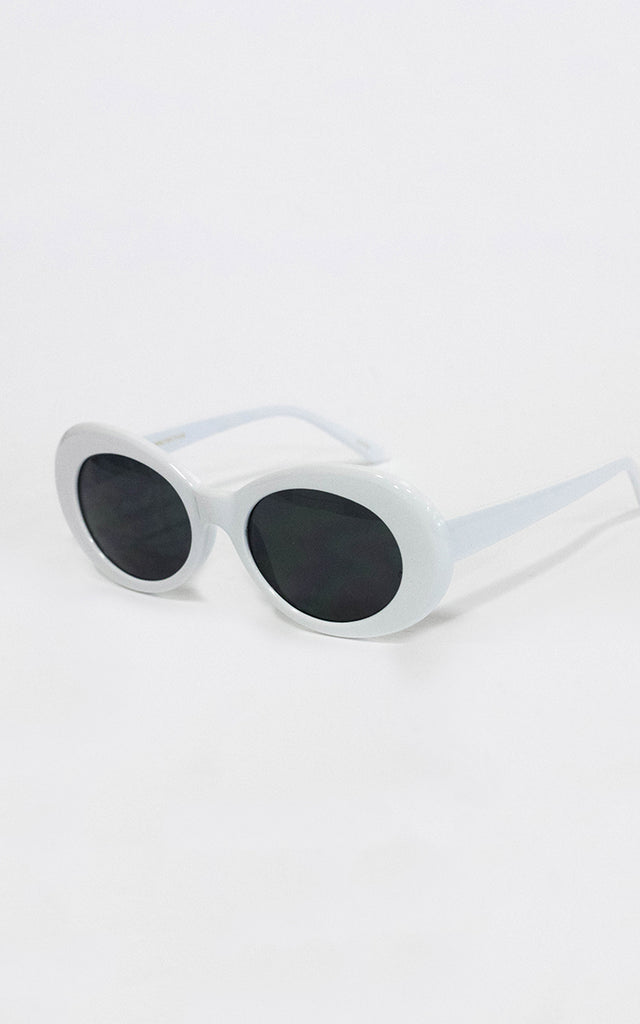 White Dolly Oval Sunglasses
