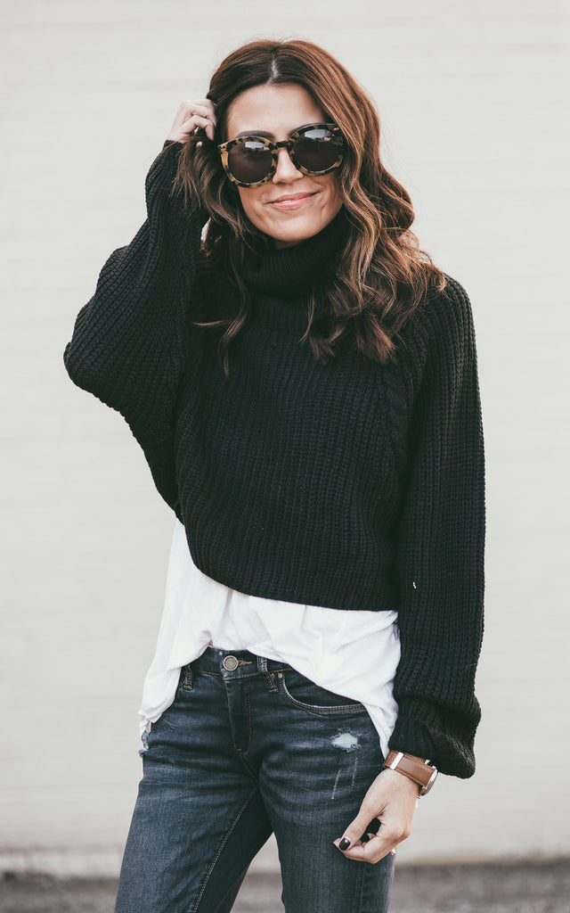Black Cropped Turtleneck Sweater