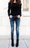 Dark Wash Distressed Denim