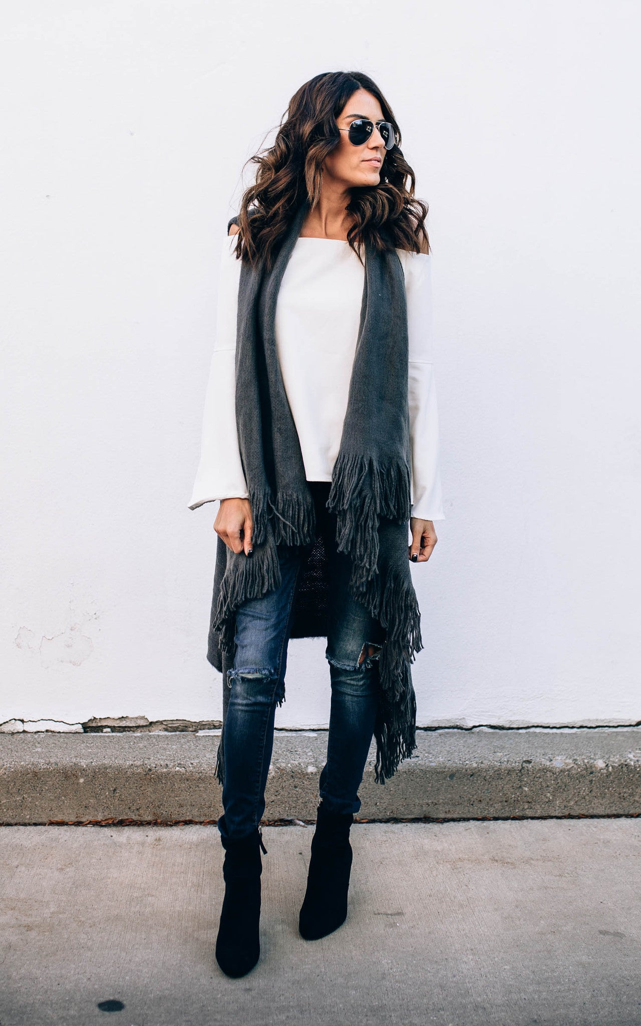 Grey Fringe Sweater Vest