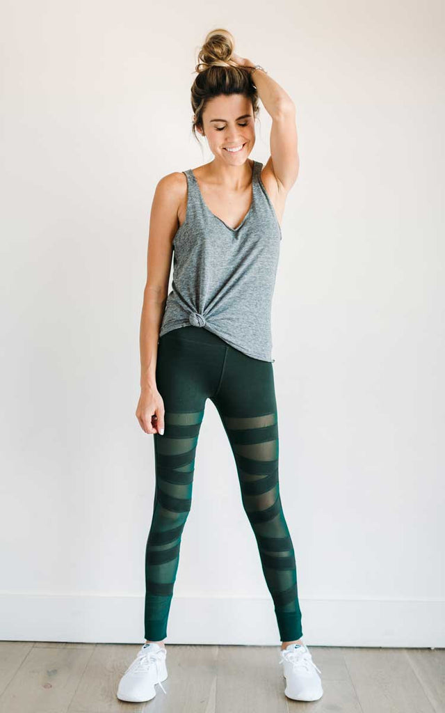 Green Strappy Mesh Leggings