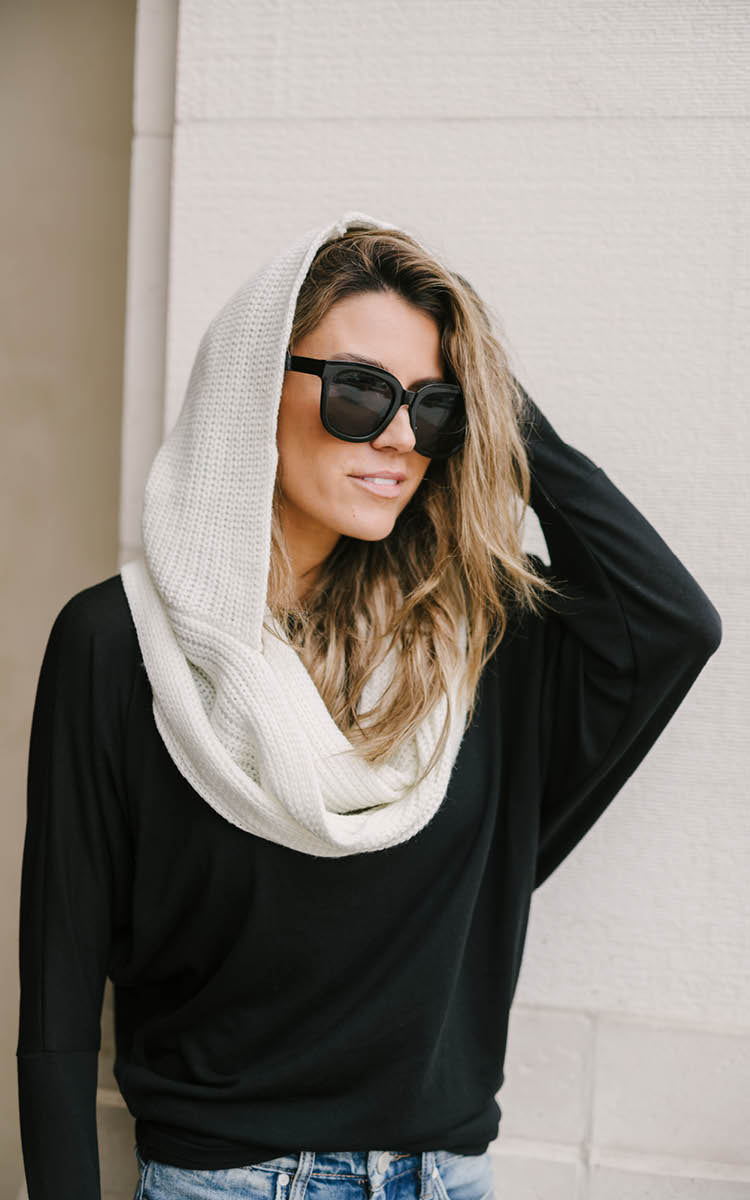 White Hooded Scarf