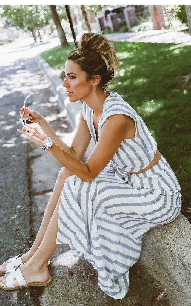 Striped Two-Piece Jumpsuit