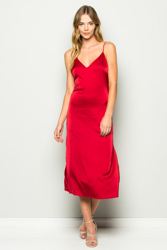 Red Lace Up Slip Dress