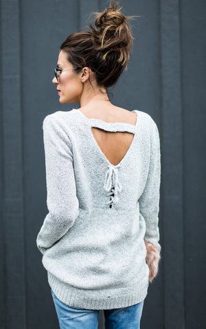 Lace up Back V Neck Sweater (Small/Medium)