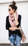 Blush Wide Ribbed Scarf