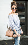 Off the Shoulder Tie Sweatshirt - Grey
