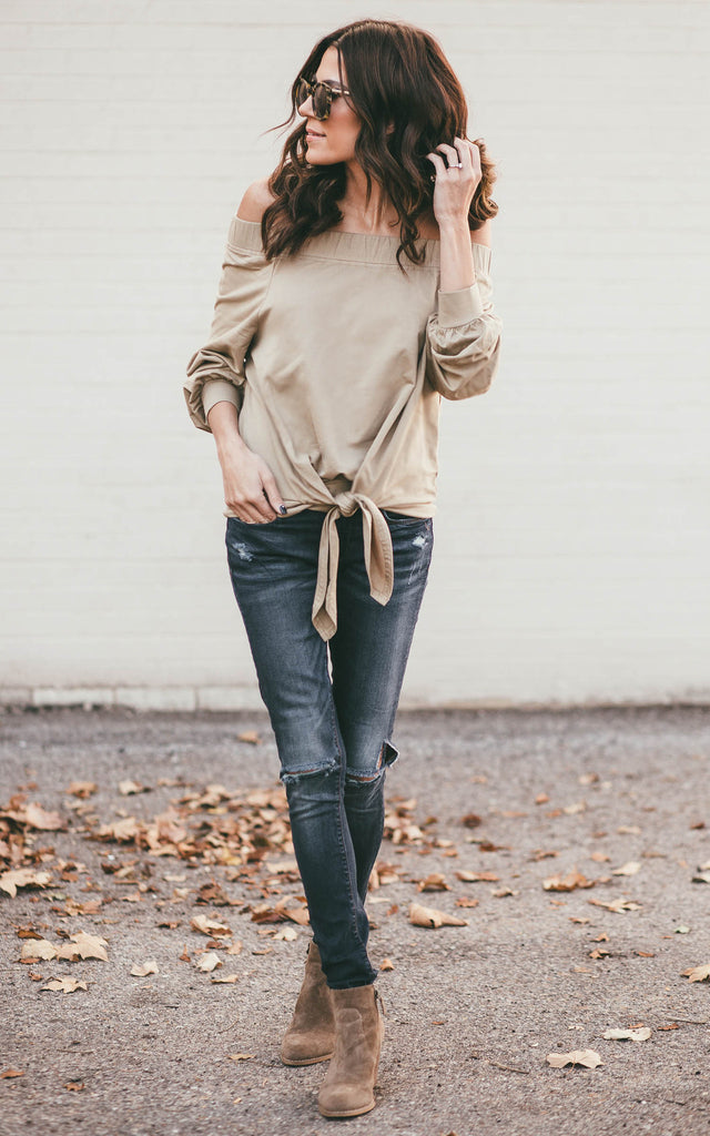 Tan Off the Shoulder Tie Sweatshirt