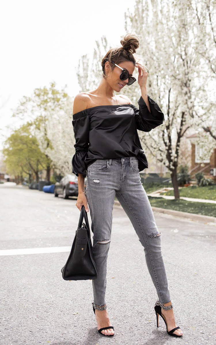 Black Off-The-Shoulder Bell Sleeve Top
