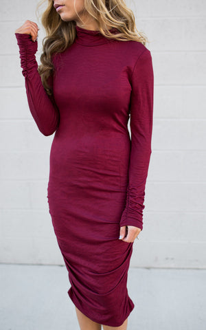 Turtle Neck Burgundy Dress
