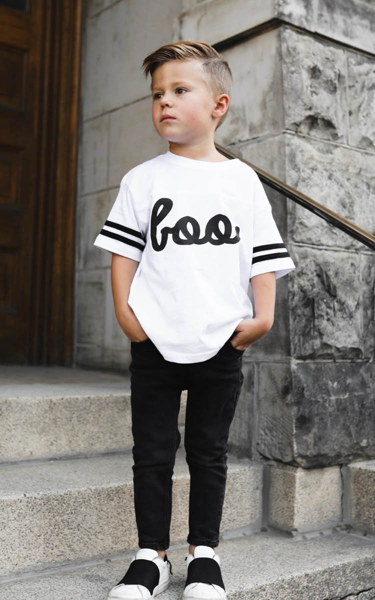 Kid's Boo White Football Tee