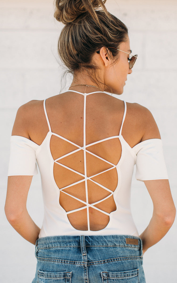 White Cross Back Body Suit
