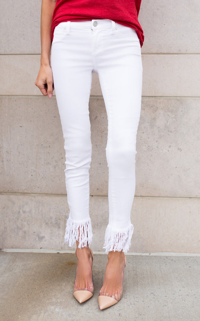 White Superfray Skinny Jeans