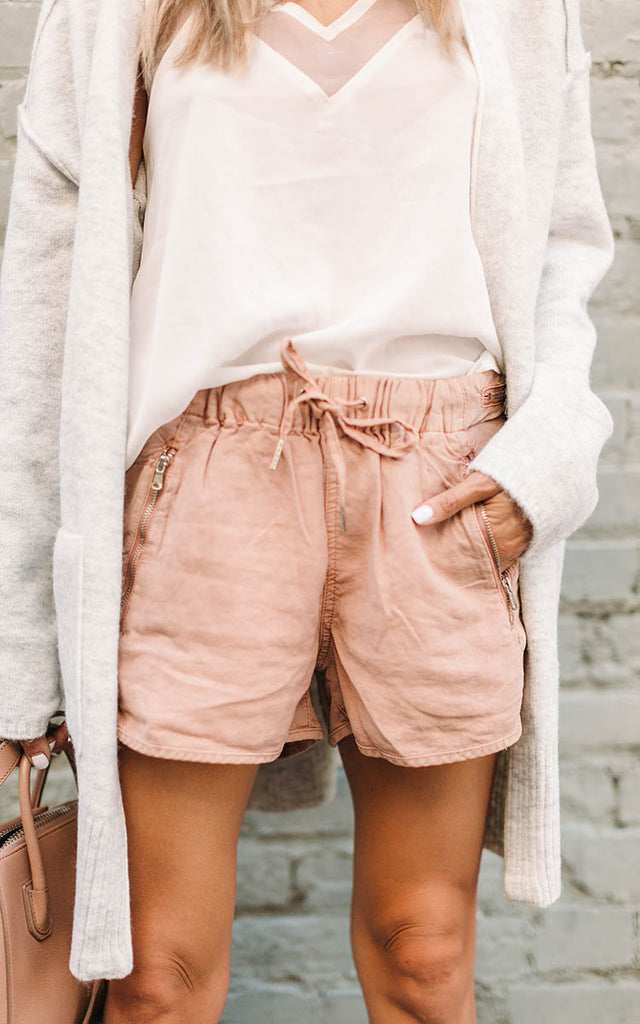 Dusty Rose Linen Shorts
