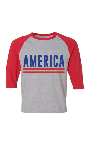Kids Grey America Baseball Tee