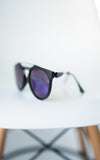 Anna Matte Black Sunglasses - Blue Lenses