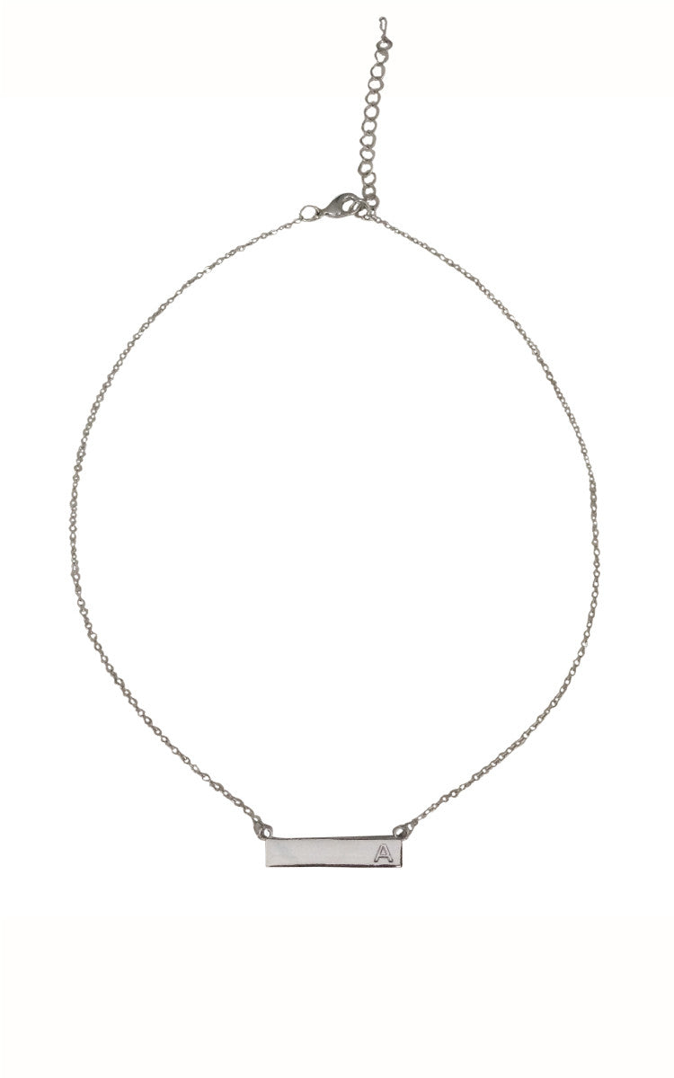 Bar Initial Necklace - Silver