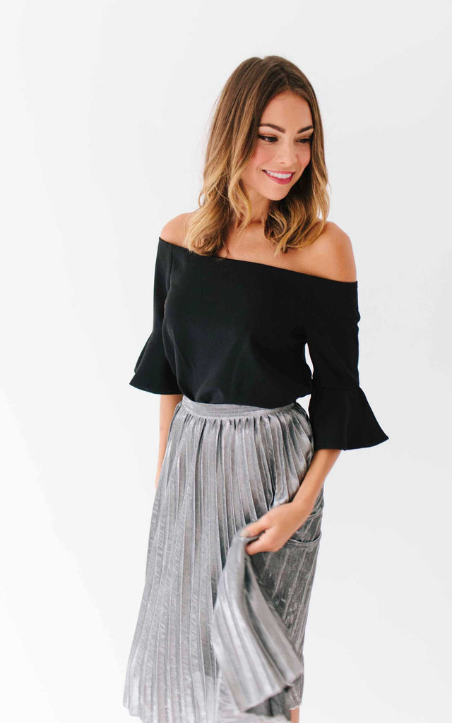 Black Flutter Sleeve Off the Shoulder Top