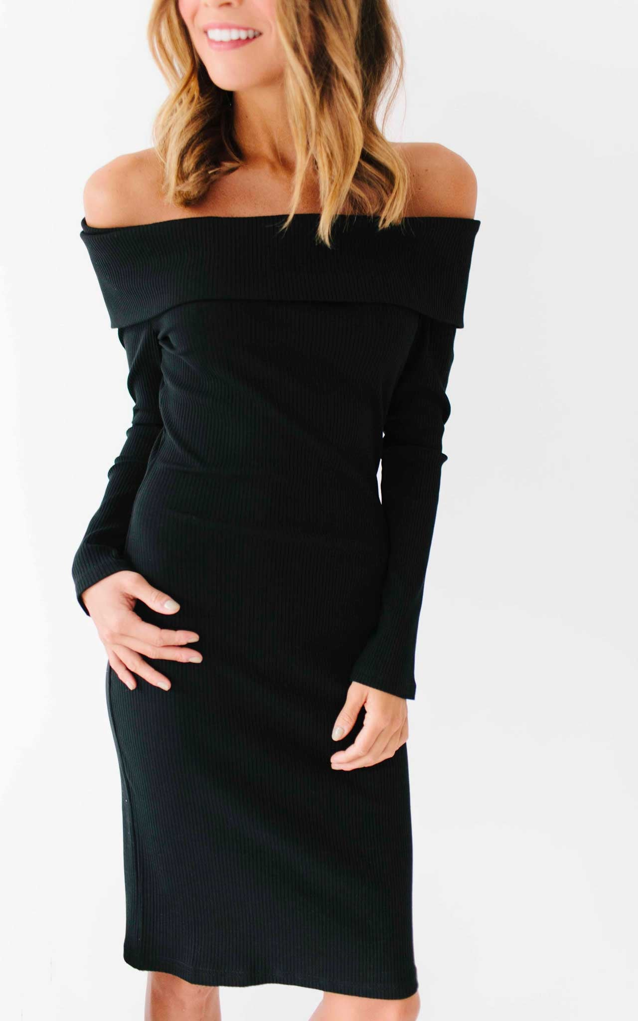 Black Off the Shoulder Peek-a-Boo Back Sweater Dress
