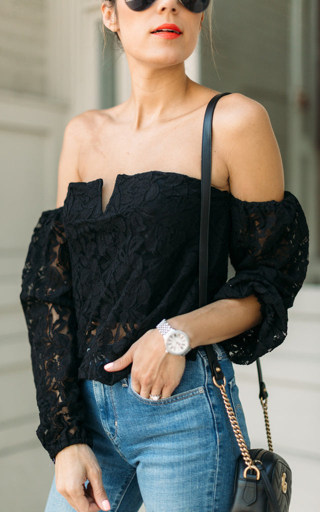 Black Lace Off-the-Shoulder Crop Top