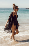 Black Lace Swim Cover Up