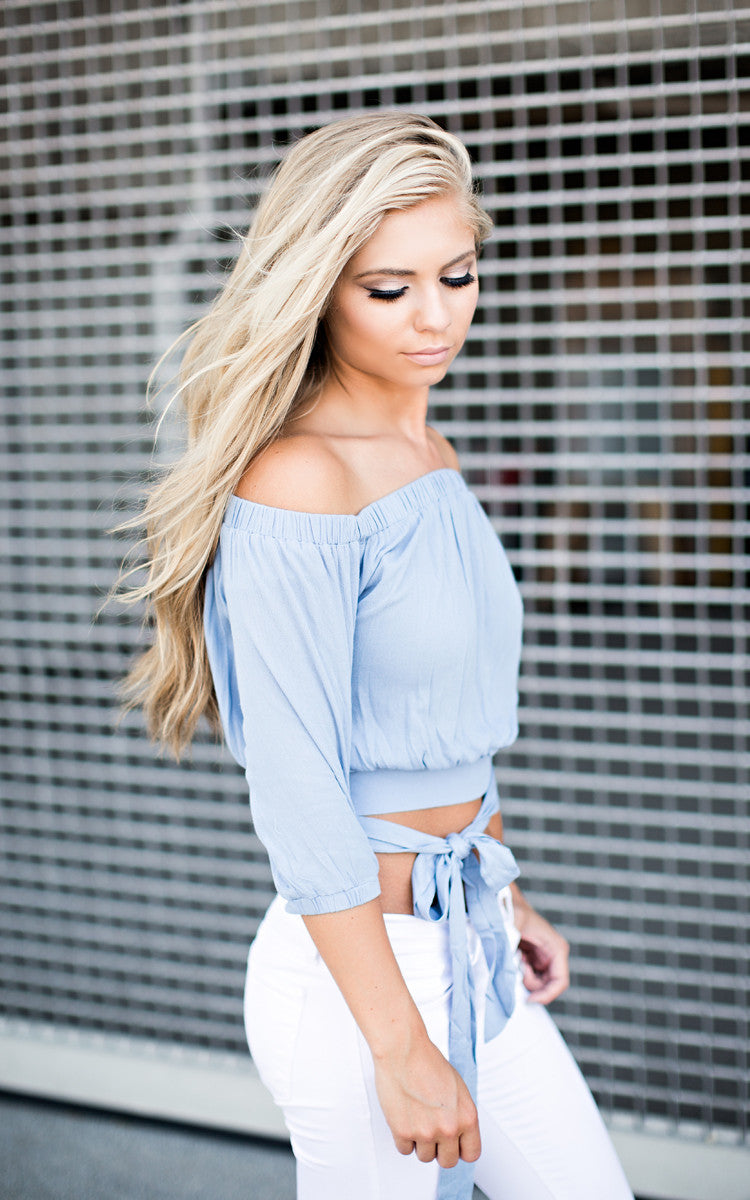 Blue Off the Shoulder Tie Top