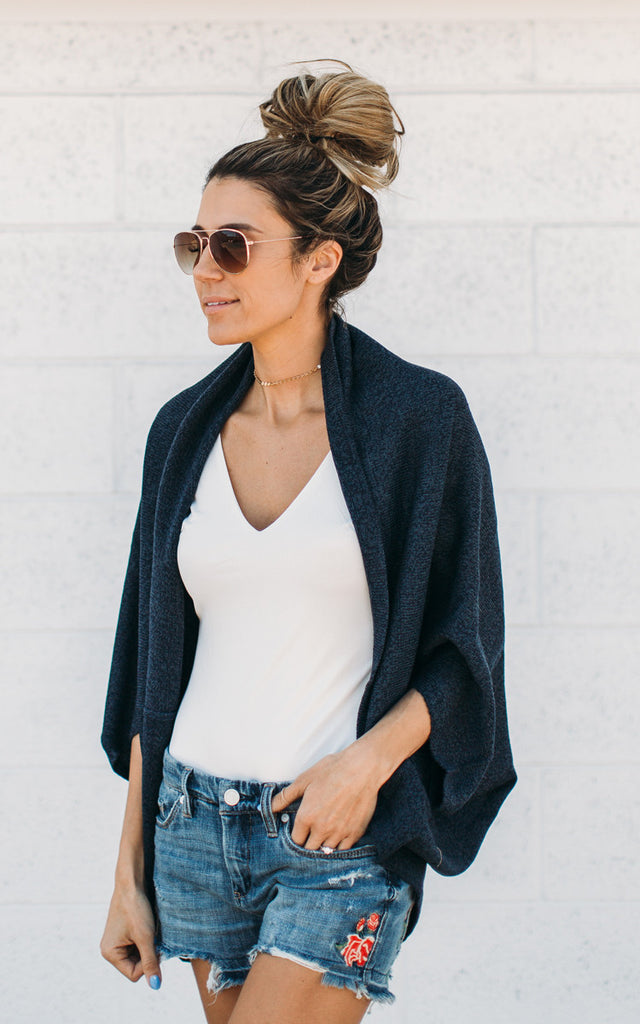 Heathered Shrug - Blue