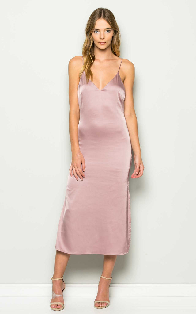 Blush Lace Up Slip Dress