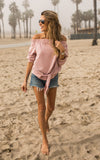 Off the Shoulder Tie Sweatshirt- Blush